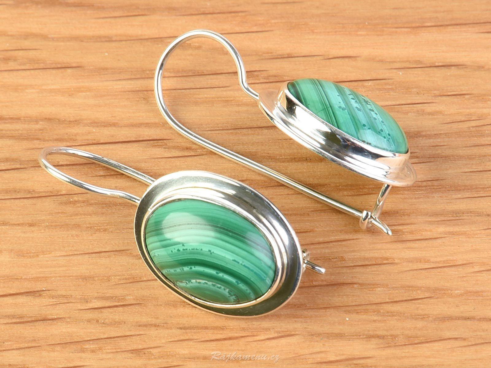 Earrings Of Malachite Ag 925 1000 5 6g