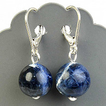 Earrings sodalite 12mm beads Ag hooks