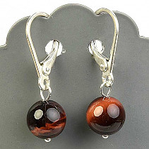 Bull's eye earrings 8mm ball Ag hooks