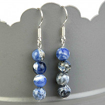 Earrings sodalite 6mm beads Ag hooks