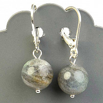 Labradorite earrings 10mm ball Ag hooks