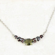 Necklace 48cm moldavite and garnets necklace of standard Ag 925/1000 Rh 3,93g