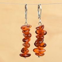 Earrings with honeycomb agate hooks
