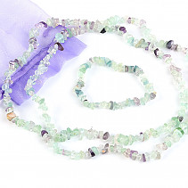 Gift set of jewelry fluorite necklace 90cm, bracelet