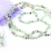 Gift sda jewelry fluorite necklace 90cm, bracelet, earrings