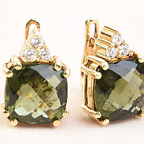 Luxury earrings with moldavite and zircons checker top brush 14K gold Au 585/1000 7,49g